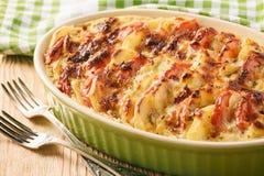Comida vegetariana - cazuela de la patata con los tomates, el ajo y el queso Imagen de archivo libre de regalías