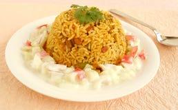 Comida vegetariana india del pilaf del arroz Fotos de archivo libres de regalías