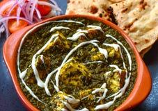 Comida vegetariana india - paneer y roti del palak imagen de archivo libre de regalías