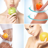 Comida vegetariana, nutrición, frutas y collage sano de la consumición imagen de archivo libre de regalías