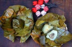 Comida vietnamita, bola de masa hervida del arroz de la pirámide Fotos de archivo