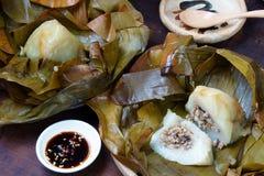 Comida vietnamita, bola de masa hervida del arroz de la pirámide Imagenes de archivo