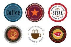 Comida y bebida determinadas del sello de la etiqueta Imágenes de archivo libres de regalías