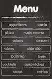 Comida y bebidas del menú del restaurante Foto de archivo libre de regalías