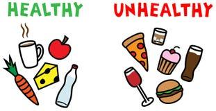 Comida y bebidas sanas y malsanas Imagen de archivo libre de regalías