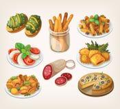 Comida y comidas italianas Foto de archivo libre de regalías