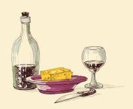 Comida y composición de la bebida Imagen de archivo libre de regalías