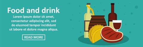 Comida y concepto horizontal de la bandera de la Argentina de las bebidas stock de ilustración