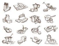 Comida y cookware Imágenes de archivo libres de regalías