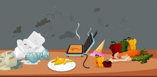 Comida y desperdicios sucios y mohosos ilustración del vector