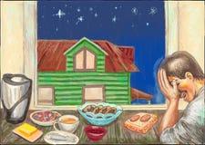 Comida y hogar con un hombre stock de ilustración