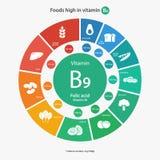 Comidas altas en la vitamina B9 Imágenes de archivo libres de regalías