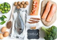 Comidas del ácido graso de Omega Foto de archivo libre de regalías