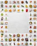 Comidas dulces y gordas de la fruta de Assotment de la carne del café vegetal de los pescados imagen de archivo