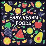 Comidas f?ciles del vegano Concepto sano libre illustration