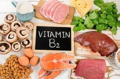 Comidas lo más arriba posible en riboflavina de la vitamina B2 fotografía de archivo