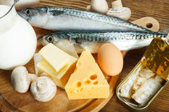 Comidas ricas en la vitamina D Fotos de archivo libres de regalías