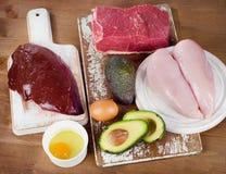 Comidas sanas altas en la vitamina B3 Imagen de archivo