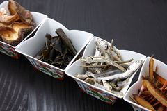 Comidas secadas típicas para la acción de sopa japonesa Fotos de archivo libres de regalías