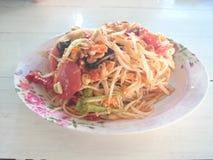 Comidas superiores de la ensalada de la papaya de Tailandia Imagen de archivo libre de regalías