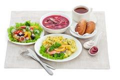 Comidas tradicionales de la cena imagen de archivo