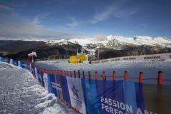Comience el área durante el mundo Ski Men Ita Downhill Race foto de archivo libre de regalías