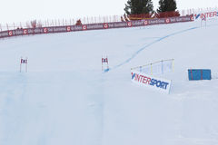 Comience el área durante el mundo Ski Men Ita Downhill Race Fotos de archivo libres de regalías