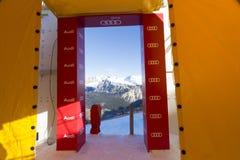 Comience el área durante el mundo Ski Men Ita Downhill Race Fotografía de archivo libre de regalías