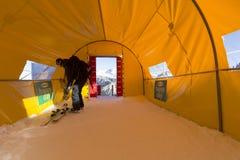 Comience el área durante el mundo Ski Men Ita Downhill Race Imagen de archivo libre de regalías