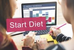Comience el concepto sano del horario del planeamiento de la dieta Imagenes de archivo
