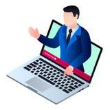 Comience el icono webinar video, estilo isométrico libre illustration