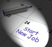 Comience a nuevo Job Calendar Displays Day One en la posición Fotos de archivo