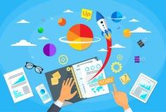Comience para arriba al hombre de negocios Hands Desk New del concepto Stock de ilustración