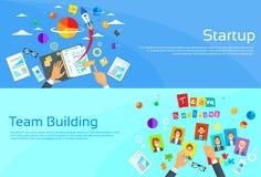 Comience para arriba al hombre de negocios Hands Desk New del concepto libre illustration