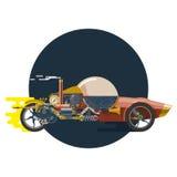 Comience para arriba el concepto, steampunk, coche de competición Foto de archivo libre de regalías