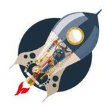 Comience para arriba el concepto, steampunk, cohete Imagen de archivo libre de regalías