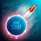 Comience para arriba el vuelo de la nave de Rrockets en el espacio Ilustración del vector ilustración del vector