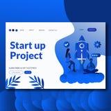 Comience para arriba la página plana del aterrizaje del ejemplo del vector del proyecto Negocio creativo, dise?o modificado para  stock de ilustración