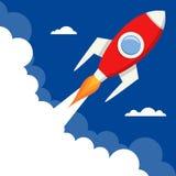 Comience para arriba a Rocket Flying con el espacio en blanco stock de ilustración