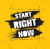 Comienzo ahora Plantilla creativa inspiradora del cartel de la cita de la motivación con el movimiento del cepillo Diseño de la b stock de ilustración