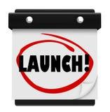 Comienzo circundado calendario del negocio del nuevo producto de la fecha de día del lanzamiento Imagen de archivo libre de regalías