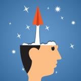 Comienzo creativo, comienzo del aeroplano de papel de la cabeza al éxito Imagen de archivo libre de regalías