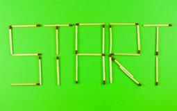 Comienzo de la palabra hecho de matchsticks Imágenes de archivo libres de regalías