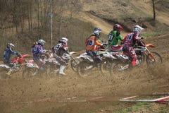 Comienzo de la raza del motocrós Fotografía de archivo libre de regalías