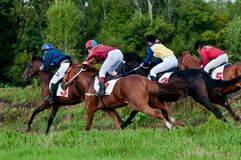 Comienzo de los caballos que compiten con que comienzan una raza Fotografía de archivo libre de regalías