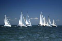 Comienzo de un regatta de la navegación Imágenes de archivo libres de regalías
