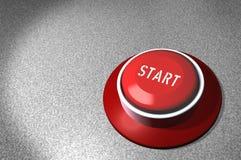 COMIENZO del botón rojo Imágenes de archivo libres de regalías