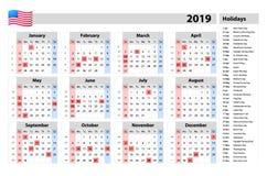 Comienzo simple lunes del calendario del vector 2019 - un años de un vistazo - con los días festivos para los E.E.U.U. stock de ilustración