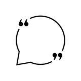 Comillas negras con la línea fina burbuja del discurso Fotos de archivo