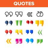 Comillas, sistema de los iconos del color del vector de las comas invertidas stock de ilustración